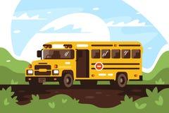 Κενό σχολικό λεωφορείο στο ταξίδι, εξόρμηση Διανυσματική απεικόνιση