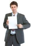 κενό σύγχρονο έγγραφο επιχειρηματιών που δείχνει το φύλλο Στοκ φωτογραφία με δικαίωμα ελεύθερης χρήσης