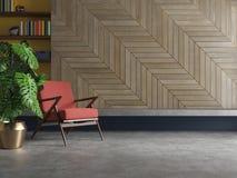 Κενό σύγχρονο εσωτερικό καθιστικών με την πολυθρόνα, εγκαταστάσεις, τσιμεντένιο πάτωμα, ξύλο Στοκ φωτογραφίες με δικαίωμα ελεύθερης χρήσης