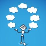 Κενό σύννεφων σκέψεων Stickman Στοκ Φωτογραφία