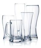 Κενό σύνολο γυαλιού μπύρας Στοκ Φωτογραφίες
