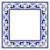 Κενό τετραγωνικό πλαίσιο με το μπλε εθνικό floral σχέδιο με τα πουλιά απεικόνιση αποθεμάτων