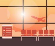Κενό τελικό εσωτερικό αερολιμένων με το aview της απογείωσης αεροπλάνων Στοκ φωτογραφίες με δικαίωμα ελεύθερης χρήσης