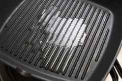 Κενό τηγανίζοντας τηγάνι με το χυμένο πετρέλαιο Στοκ Εικόνα