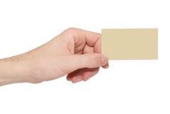 κενό χέρι καρτών κίτρινο Στοκ φωτογραφία με δικαίωμα ελεύθερης χρήσης