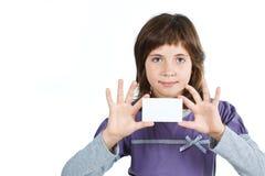κενό χαριτωμένο κορίτσι καρτών Στοκ Φωτογραφία