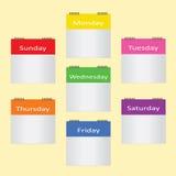 Κενό χρώμα 7 σημείωση 7 ημερών Διανυσματική απεικόνιση
