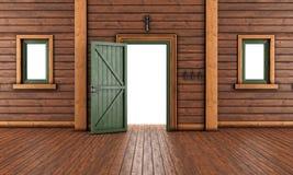 Κενό δωμάτιο εισόδων ενός ξύλινου σπιτιού Στοκ Φωτογραφίες