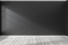 Κενό δωμάτιο με το μαύρο τοίχο και το άσπρο πάτωμα παρκέ Στοκ Φωτογραφία