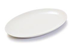 Κενό ωοειδές άσπρο πιάτο Στοκ Εικόνα