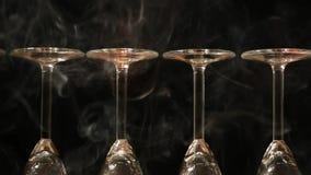 Κενό disco καπνού γυαλιού σαμπάνιας ελαφρύ κανένα hd μήκος σε πόδηα απόθεμα βίντεο