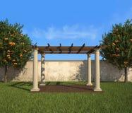 Gazebo σε έναν ηλιόλουστο κήπο ελεύθερη απεικόνιση δικαιώματος