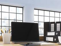 Κενό lap-top εργασιακών χώρων γραφείων Στοκ εικόνα με δικαίωμα ελεύθερης χρήσης