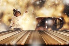 Κενό tabletop με τη μουτζουρωμένη διακόσμηση W παιχνιδιών Χριστουγέννων μικρών παιδιών Στοκ Εικόνα