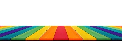 Κενό tabletop χρώματος ουράνιων τόξων καραμελών για το montage επίδειξης το σπρώξιμό σας Στοκ εικόνα με δικαίωμα ελεύθερης χρήσης