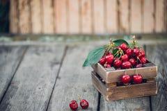 Κεράσια με τα φύλλα στο εκλεκτής ποιότητας ξύλινο κιβώτιο στον αγροτικό ξύλινο πίνακα διάστημα αντιγράφων Στοκ Εικόνες