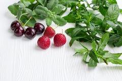 Κεράσια, φράουλες, φρέσκα μέντα και melissa χορτάρια στο άσπρο wo Στοκ φωτογραφία με δικαίωμα ελεύθερης χρήσης