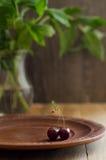 Κεράσι στο εκλεκτής ποιότητας πιάτο αργίλου Στοκ εικόνα με δικαίωμα ελεύθερης χρήσης