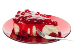 κεράσι τυριών κέικ Στοκ Φωτογραφία