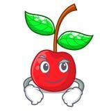 Κεράσι φρούτων Smirking επάνω από τον ξύλινο πίνακα χαρακτήρα απεικόνιση αποθεμάτων