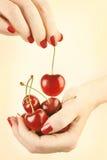 Κεράσι χεριών με το κόκκινο μανικιούρ καρφιών Στοκ Φωτογραφία