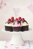 Κεράσι cupcakes Στοκ Εικόνες