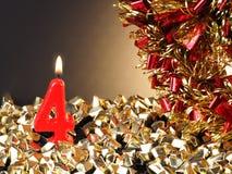 Κερί γενέθλιο-επετείου που παρουσιάζει Nr 4 Στοκ Φωτογραφία