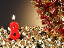 Κερί γενέθλιο-επετείου που παρουσιάζει Nr 8 Στοκ Εικόνες