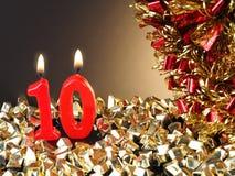 Κερί γενέθλιο-επετείου που παρουσιάζει Nr 10 Στοκ Φωτογραφία