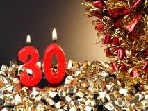 Κερί γενέθλιο-επετείου που παρουσιάζει Nr 30 Στοκ Εικόνες