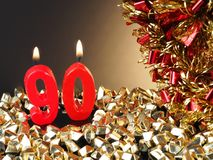 Κερί γενέθλιο-επετείου που παρουσιάζει Nr 90 Στοκ εικόνα με δικαίωμα ελεύθερης χρήσης