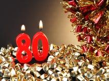 Κερί γενέθλιο-επετείου που παρουσιάζει Nr 80 Στοκ εικόνα με δικαίωμα ελεύθερης χρήσης