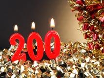 Κερί γενέθλιο-επετείου που παρουσιάζει Nr 200 Στοκ Φωτογραφίες