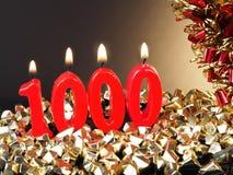 Κερί γενέθλιο-επετείου που παρουσιάζει Nr 1000 Στοκ εικόνα με δικαίωμα ελεύθερης χρήσης