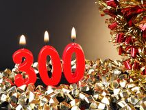 Κερί γενέθλιο-επετείου που παρουσιάζει Nr 300 Στοκ φωτογραφία με δικαίωμα ελεύθερης χρήσης