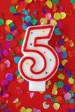 κερί γενεθλίων πέντε αριθ& Στοκ Εικόνα