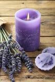 Κερί με lavender Στοκ Εικόνα