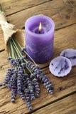 Κερί με lavender Στοκ εικόνα με δικαίωμα ελεύθερης χρήσης
