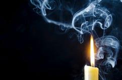 Κερί, φλόγα, καπνός Στοκ Εικόνες