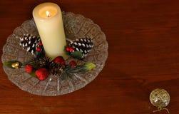 Κερί Χριστουγέννων - δωμάτιο για τα κείμενο-βλέμματα όπως μια ετικέττα δώρων Στοκ Εικόνες