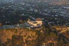Κεραία απογεύματος παρατηρητήριων πάρκων του Λος Άντζελες Griffith στοκ φωτογραφία