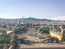 Κεραία από Plaza δ ` Espanya στη Βαρκελώνη Στοκ φωτογραφία με δικαίωμα ελεύθερης χρήσης