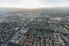Κεραία Καλιφόρνιας ηλιοβασιλέματος κοιλάδων του Λος Άντζελες στοκ φωτογραφία με δικαίωμα ελεύθερης χρήσης