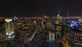 Κεραία οριζόντων νύχτας πόλεων της Νέας Υόρκης Στοκ φωτογραφίες με δικαίωμα ελεύθερης χρήσης