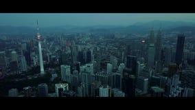 Κεραία της άποψης πρωινού στον ορίζοντα της Κουάλα Λουμπούρ απόθεμα βίντεο