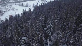 Κεραία της κατοικημένης τοποθεσίας στα βουνά στο χειμώνα Κτήρια και σπίτια ορεινών χωριών στις χιονώδεις κλίσεις λόφων φιλμ μικρού μήκους