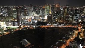 Κεραία της Οζάκα nightscape απόθεμα βίντεο