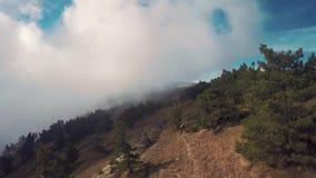 Κεραία του γύρου ποδηλατών βουνών προς τα κάτω στα βουνά besh-Kosh στα σύννεφα Κριμαία απόθεμα βίντεο