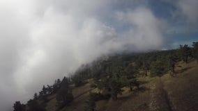 Κεραία του γύρου ποδηλατών βουνών προς τα κάτω στα βουνά besh-Kosh στα σύννεφα Κριμαία φιλμ μικρού μήκους