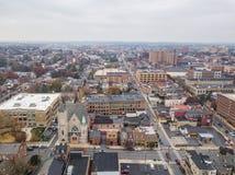 Κεραία του στο κέντρο της πόλης Λάνκαστερ, Πενσυλβανία areound το κεντρικό Μ στοκ φωτογραφία